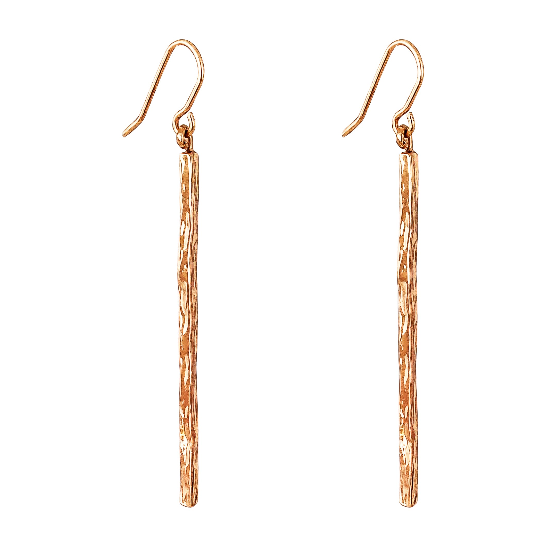 Alexa Hammered Bar Earrings | Rose