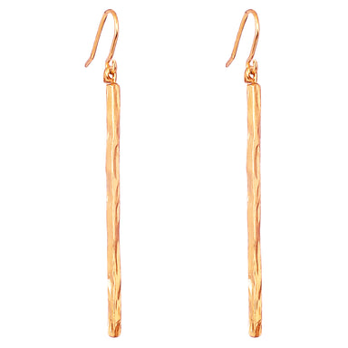 Alexa Long Hammered Bar Earrings | Rose
