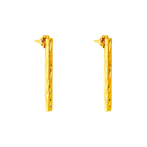 Alexa Long Hammered Bar Stud Earrings | Gold
