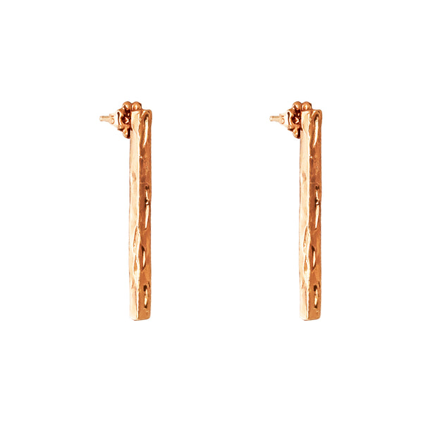 Alexa Long Hammered Bar Stud Earrings With Chain Detail | Rose