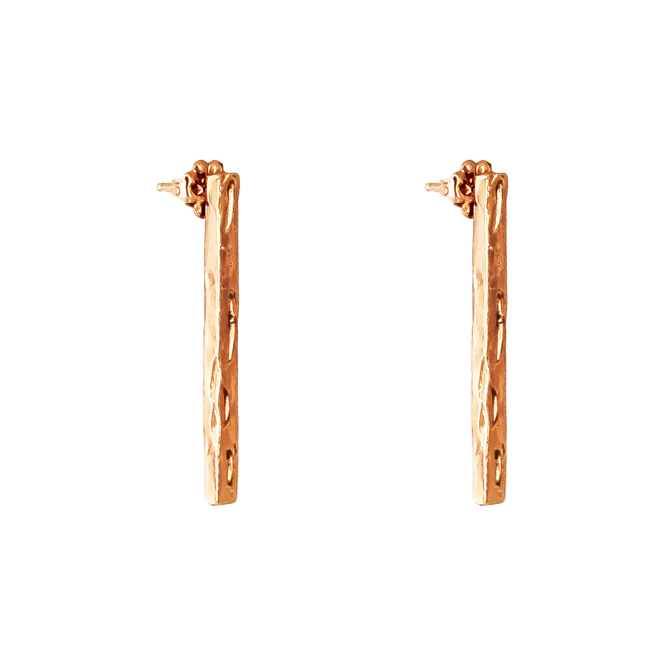 Alexa Long Hammered Bar Stud Earrings | Rose
