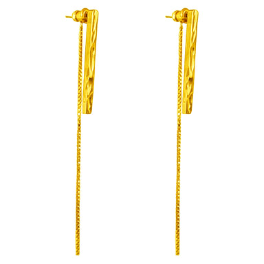 Alexa Long Hammered Bar Stud Earrings With Chain Detail | Gold