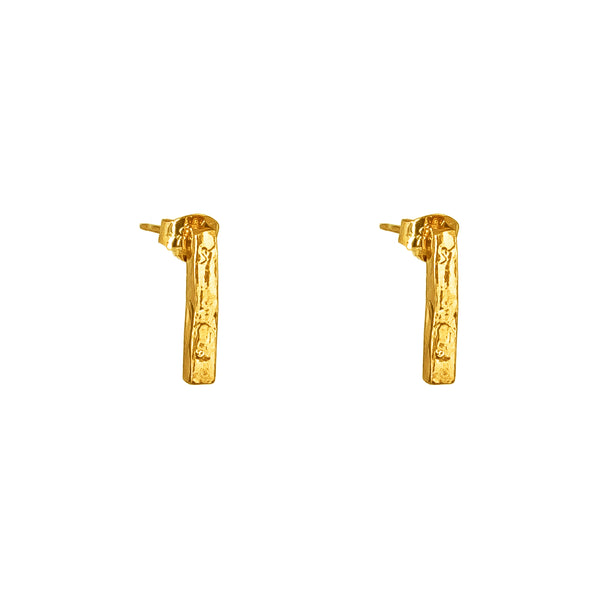 Alexa Medium Hammered Bar Stud Earrings | Gold
