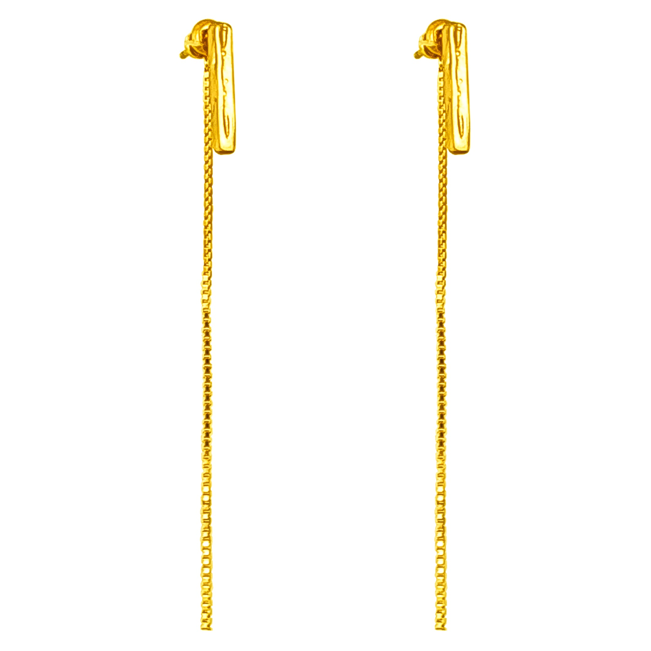 Alexa Medium Hammered Bar Stud Earrings With Chain Detail | Gold