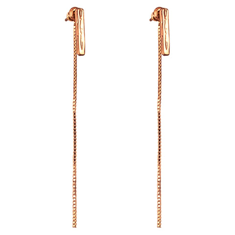 Alexa Medium Hammered Bar Stud Earrings With Chain Detail | Rose