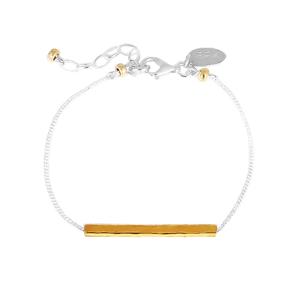 Alexis Fine Hammered Bar Bracelet | Gold Bar And Detail