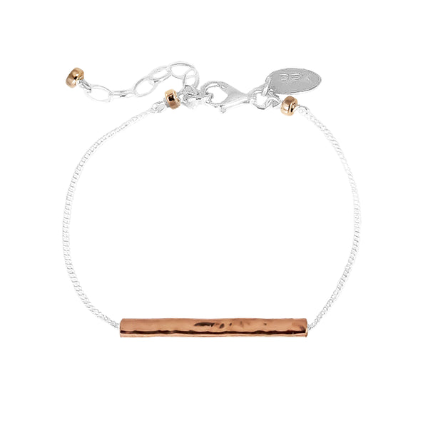 Alexis Fine Hammered Bar Bracelet | Rose Bar And Detail