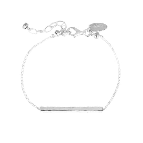 Alexis Fine Hammered Bar Bracelet | Silver Bar And Detail