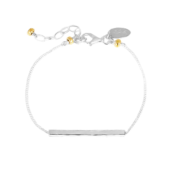 Alexis Fine Hammered Bar Bracelet | Silver Bar And Gold Detail