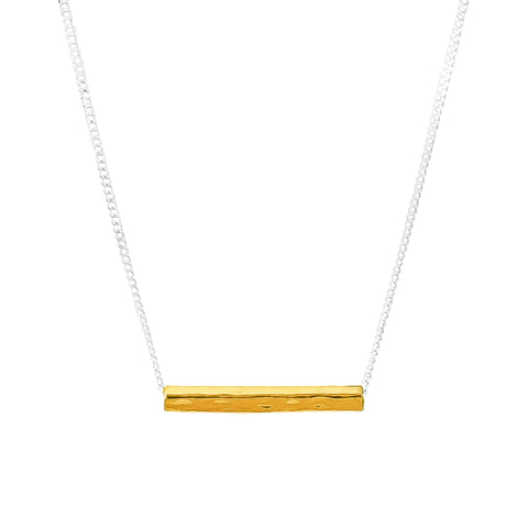 Alexis Fine Hammered Bar Necklace | Gold