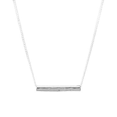 Alexis Fine Hammered Bar Necklace | Silver