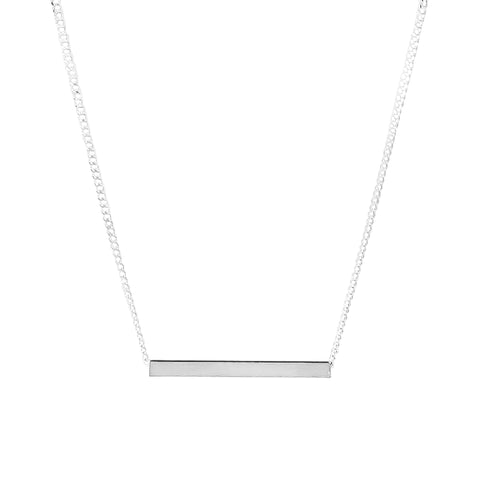 Alexis Fine Polished Bar Necklace | Silver