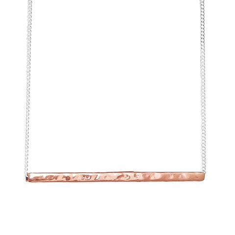 Alexis Hammered Bar Necklace | Rose