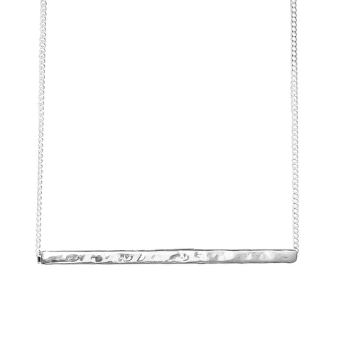 Alexis Hammered Bar Necklace | Silver