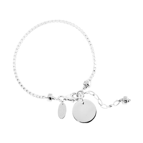 Astra Box Chain Bracelet With Polished Disc | Silver Disc And Detail