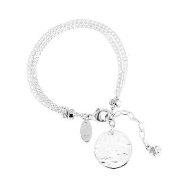 Astra Double Statement Chain Bracelet With Hammered Disc | Silver Disc And Detail