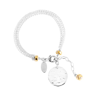 Astra Double Statement Chain Bracelet With Hammered Disc | Silver Disc And Gold Detail