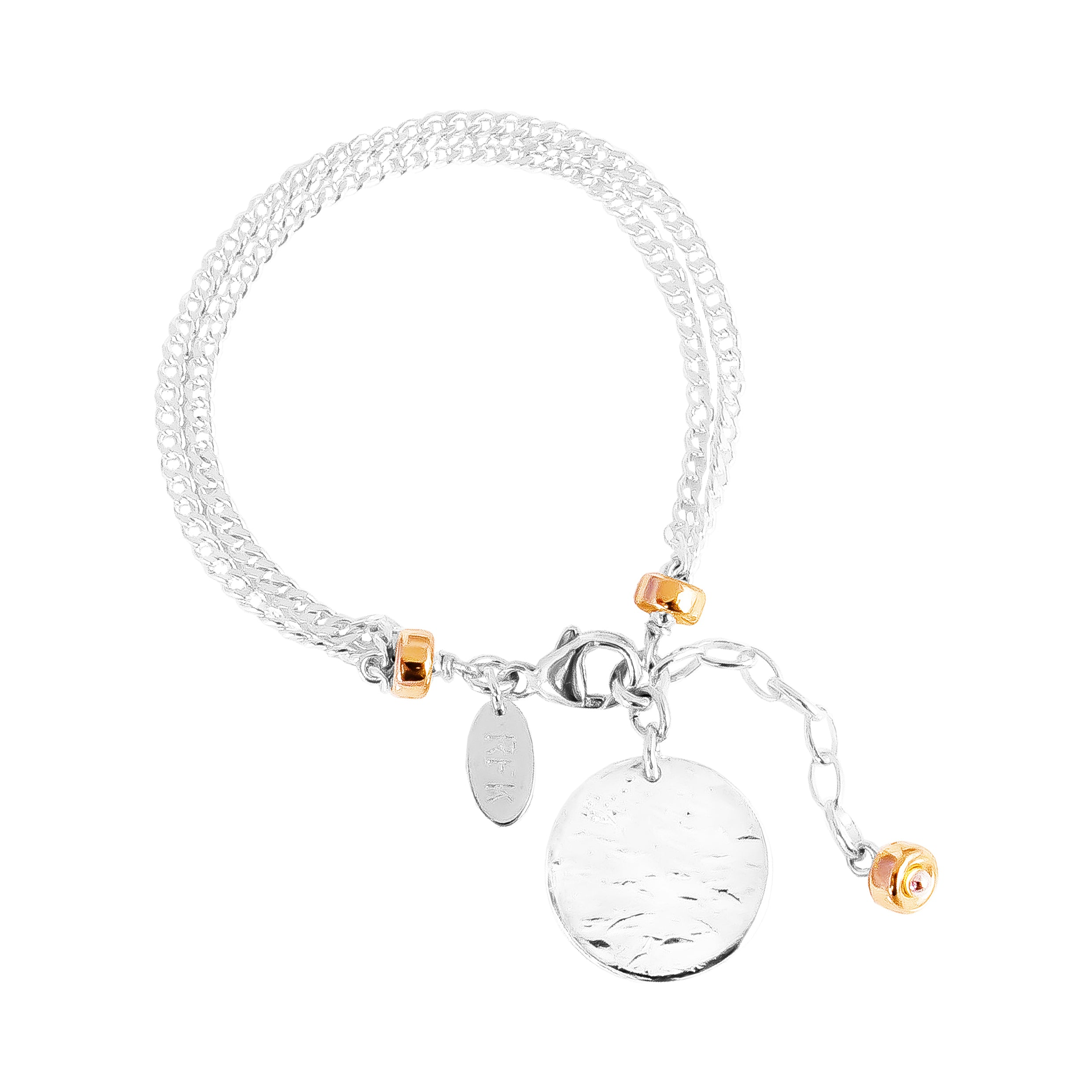 Astra Double Statement Chain Bracelet With Hammered Disc | Silver Disc And Rose Detail