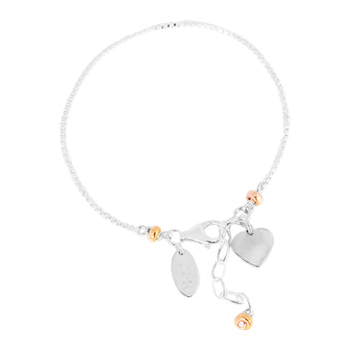 Astra Fine Box Chain Bracelet With Heart | Silver Heart And Rose Detail