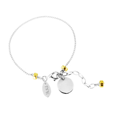 Astra Fine Box Chain Bracelet With Polished Disc | Silver Disc And Gold Detail