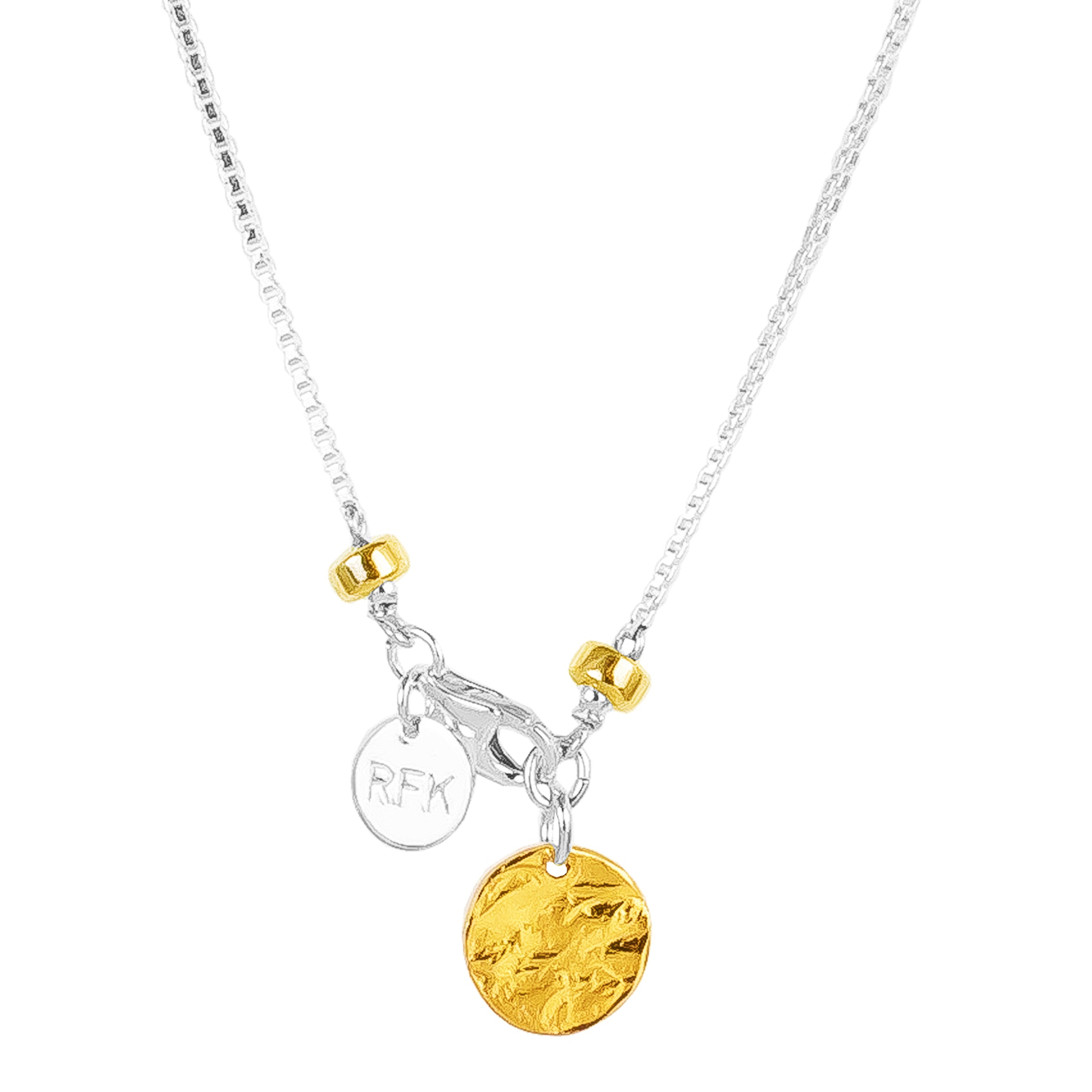 Astra Fine Box Chain Necklace With Hammered Disc | Gold Disc And Detail