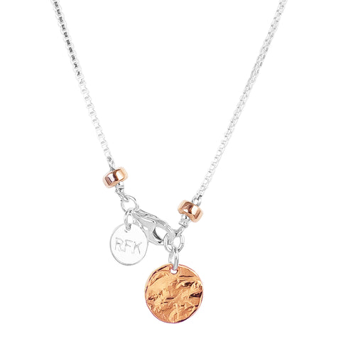 Astra Fine Box Chain Necklace With Hammered Disc | Rose Disc And Detail