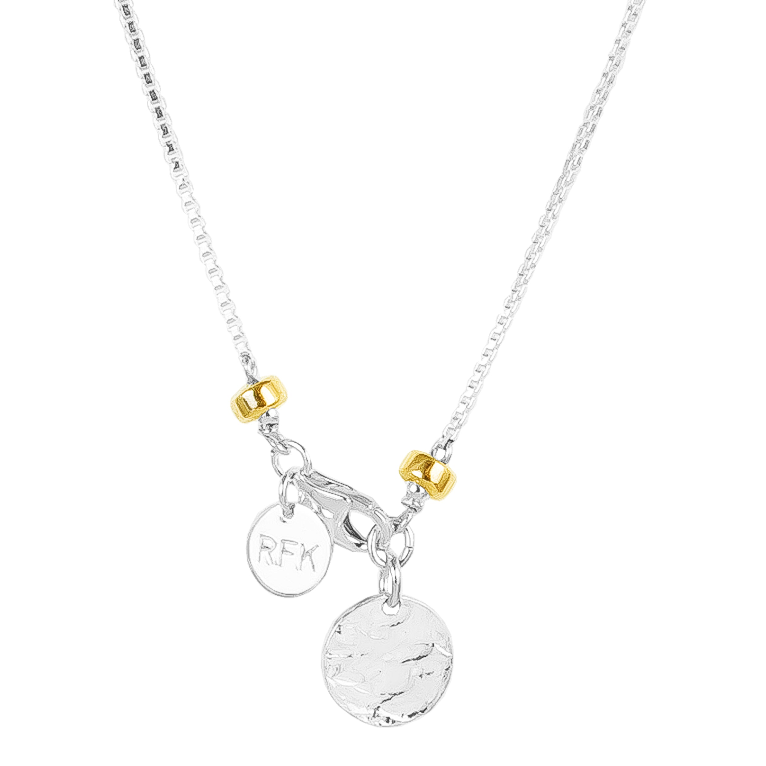 Astra Fine Box Chain Necklace With Hammered Disc | Silver Disc And Gold Detail