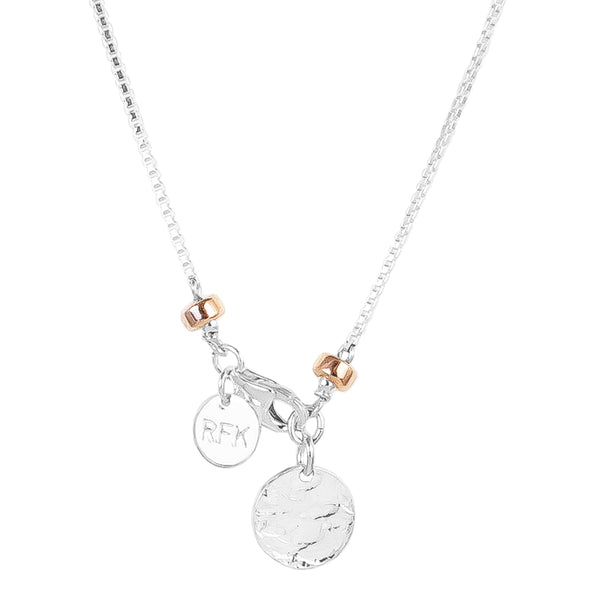 Astra Fine Box Chain Necklace With Hammered Disc | Silver Disc And Rose Detail