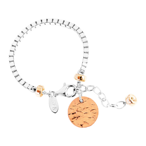 Astra Wide Box Chain Bracelet With Hammered Disc | Rose Disc And Detail