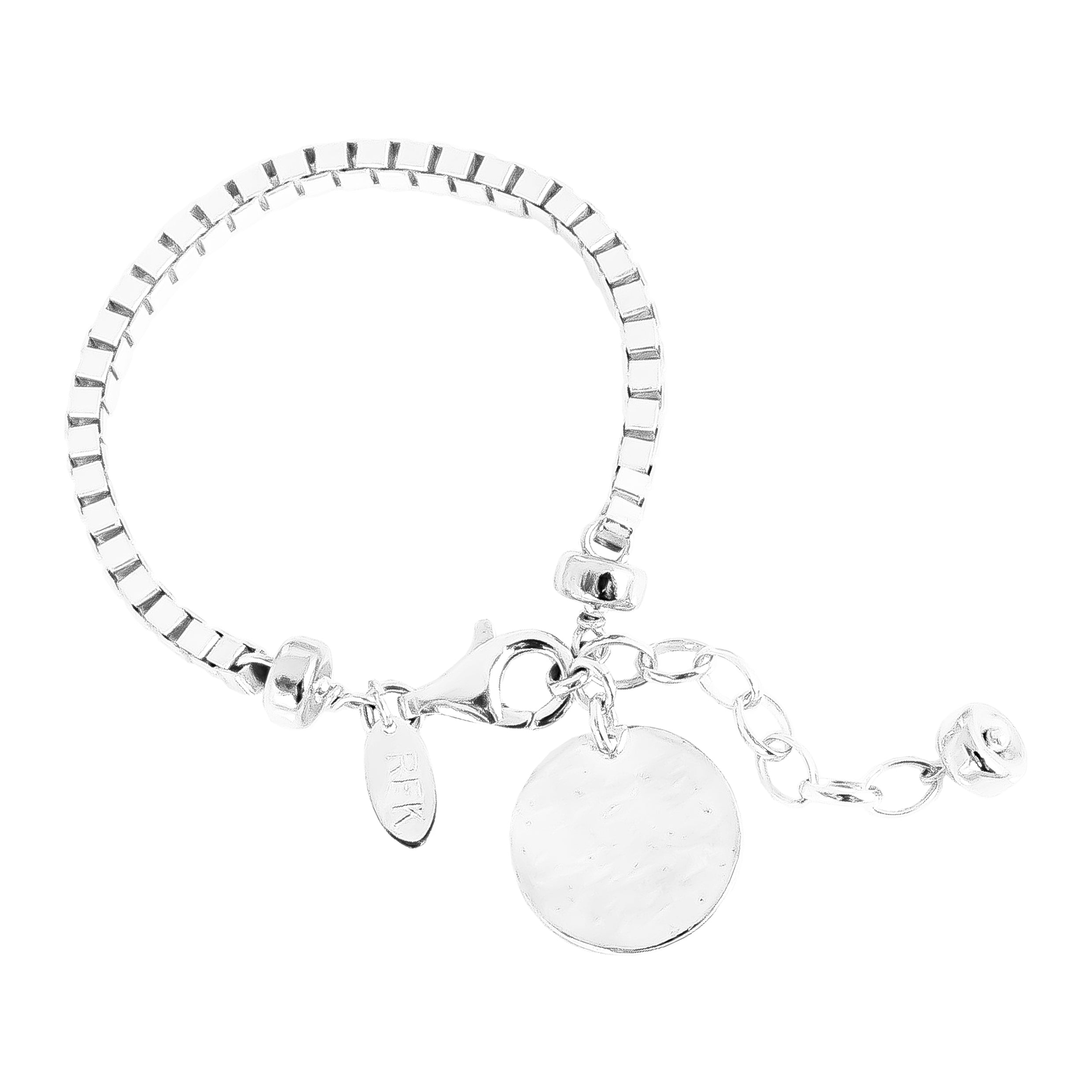 Astra Wide Box Chain Bracelet With Hammered Disc | Silver Disc And Detail