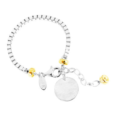 Astra Wide Box Chain Bracelet With Hammered Disc | Silver Disc And Gold Detail