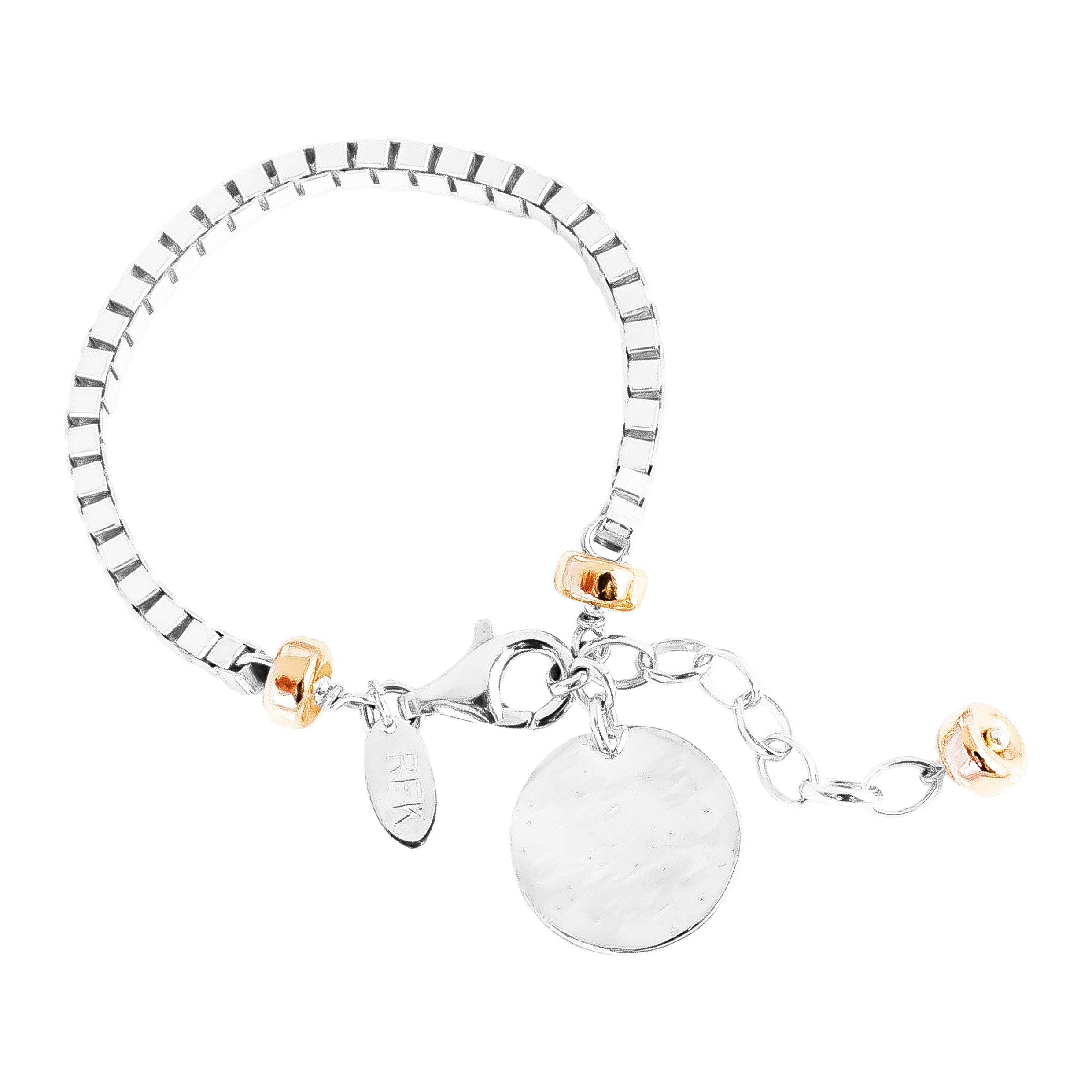 Astra Wide Box Chain Bracelet With Hammered Disc | Silver Disc And Rose Detail