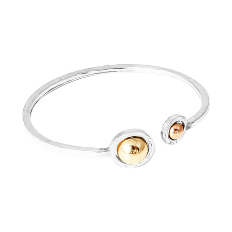 Atticus Double Feature Oval Hammered Bangle | Polished Rose And Gold Detail