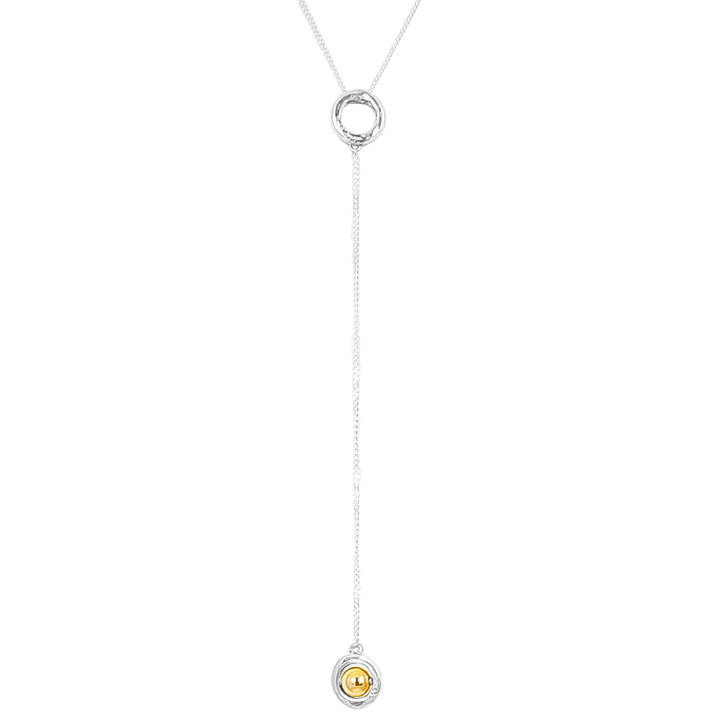 Atticus Fine Charm Lariet Necklace | Polished Gold Detail