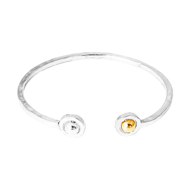 Atticus Fine Double Feature Oval Hammered Bangle | Polished Silver And Gold Detail
