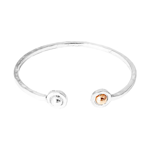 Atticus Fine Double Feature Oval Hammered Bangle | Polished Silver And Rose Detail