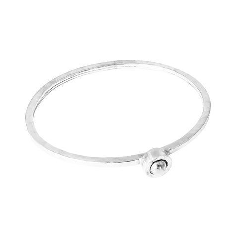 Atticus Fine Feature Oval Hammered Bangle | Polished Silver Detail
