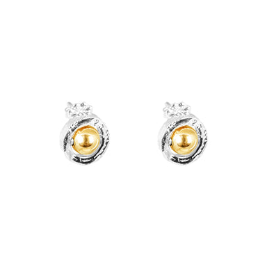 Atticus Fine Stud Earrings | Polished Gold Detail