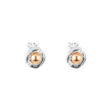 Atticus Fine Stud Earrings | Polished Rose Detail