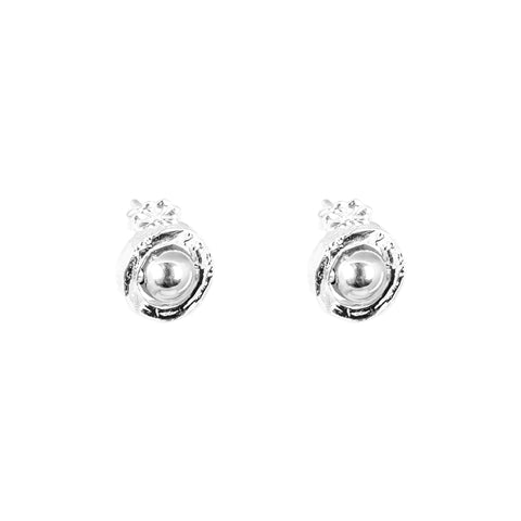 Atticus Fine Stud Earrings | Polished Silver Detail