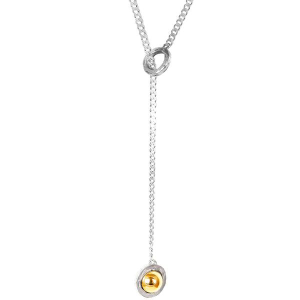 Atticus Large Charm Lariet Necklace - Long | Polished Gold Detail