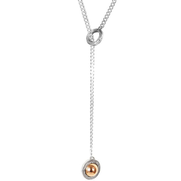 Atticus Large Charm Lariet Necklace - Long | Polished Rose Detail