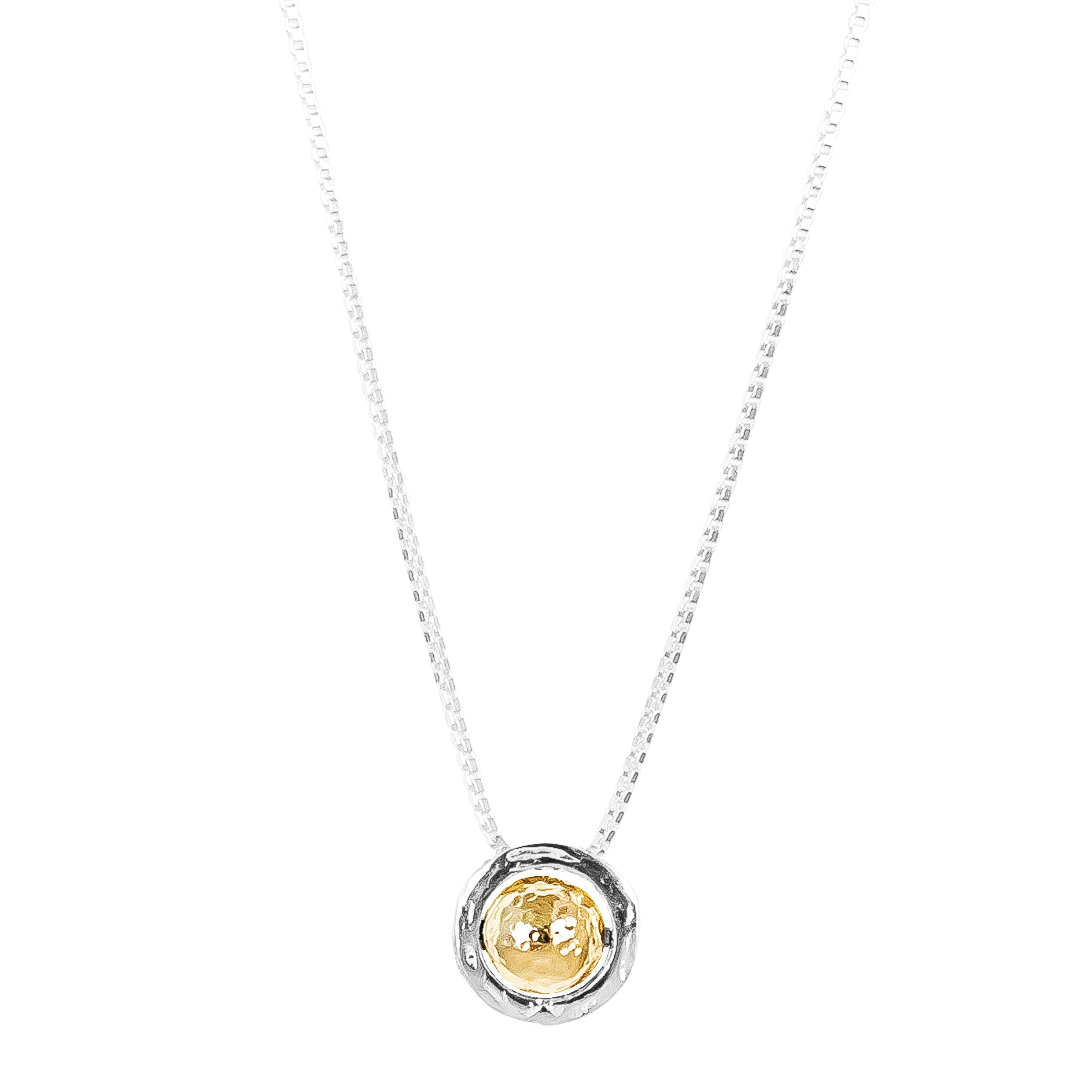 Atticus Large Charm Necklace With Box Chain - Long | Hammered Gold Detail