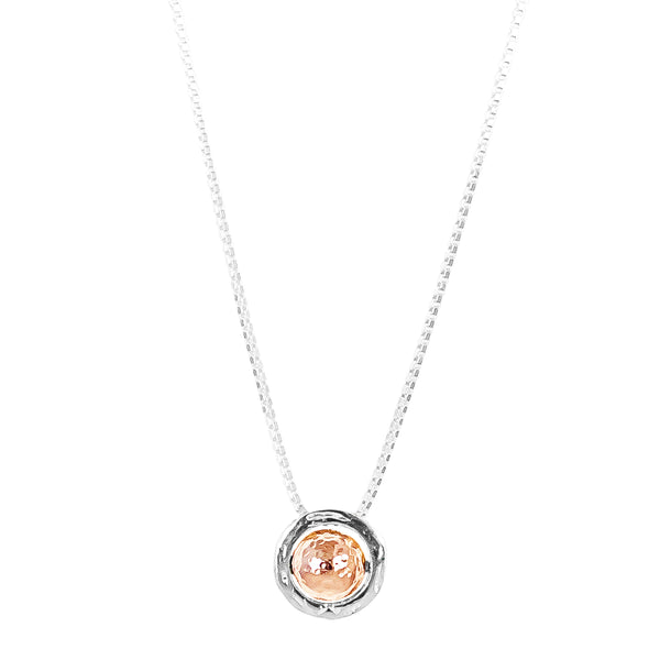 Atticus Large Charm Necklace With Box Chain - Long | Hammered Rose Detail