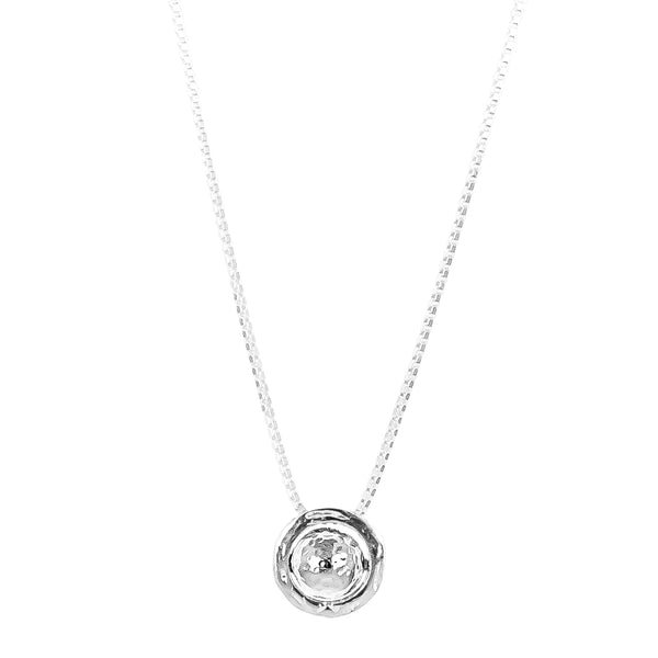 Atticus Large Charm Necklace With Box Chain - Long | Hammered Silver Detail
