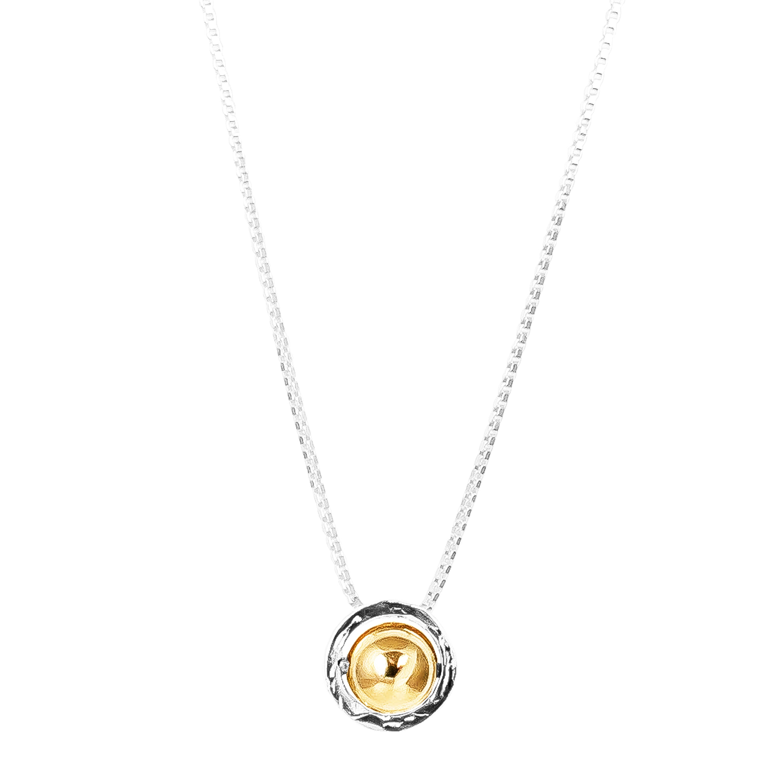 Atticus Large Charm Necklace With Box Chain - Long | Polished Gold Detail