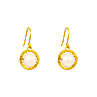 Atticus Large Drop Earrings | Gold With Pearl Detail