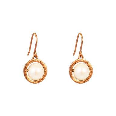 Atticus Large Drop Earrings | Rose With Pearl Detail