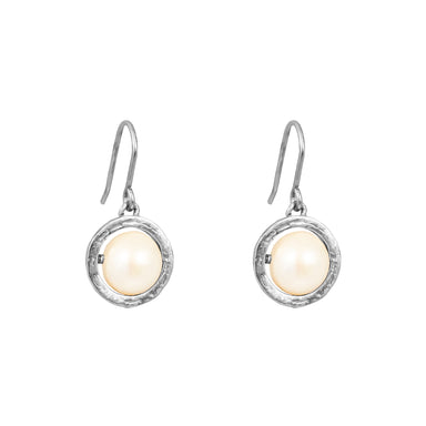 Atticus Large Drop Earrings | Silver With Pearl Detail