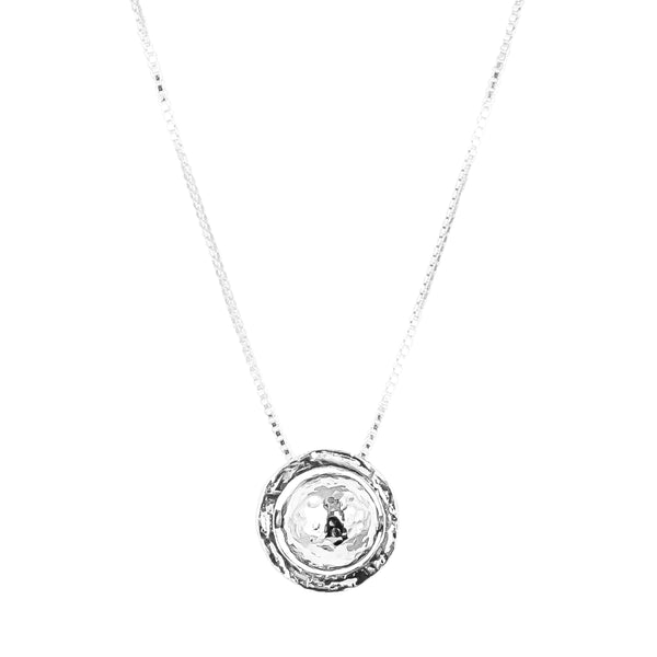 Atticus Large Necklace | Hammered Silver Detail